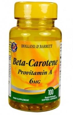 Beta-carotene (provitamin A) 6 mg 100 capsules Holland Barrett / Бета Каротин (провитамин А) 6 мг. 100 капсули Holland Barrett