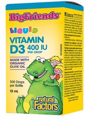 Big Friends Vitamin D3 400 IU 15 ml Natural Factors / Биг Френдс Витамин Д3 за деца течен 400 IU 15 мл Натурал Факторс