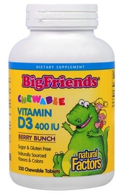 Big Friends Vitamin D3 400 IU 250 chewable tablets Natural Factors / Биг Френдс Витамин Д3 за деца 400 IU 250 дъвчащи таблетки Натурал Факторс