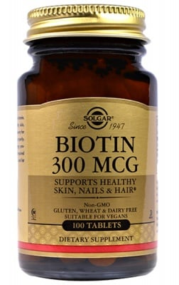 Biotin 300 mcg 100 tablets Solgar / Биотин 300 мкг. 100 таблетки Солгар