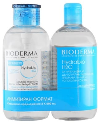 Bioderma Hydrabio H2О 500 ml 2 pcs. / Биодерма Хидрабио Мицеларна вода за дехидратирана кожа 2 броя по 500 мл.