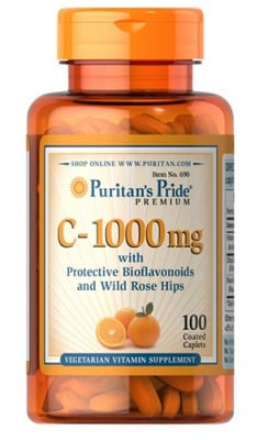 Puritan's Pride Vitamin C 1000 mg + wild rose hips and bioflavonoids 100 caplets / Пуританс Прайд Витамин Ц 1000 мг. + биофлавоноиди и Шипка 100 каплети