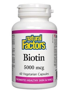 Biotin 5000 mcg 60 capsules Natural Factors / Биотин 5000 мкг. 60 капсули Натурал Факторс