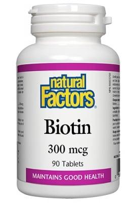 Biotin 300 mcg 90 tablets Natural Factors / Биотин 300 мкг. 90 таблетки Натурал Факторс