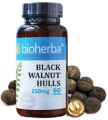 Bioherba black walnut hulls 250 mg 60 capsules / Биохерба Черен орех 250 мг. 60 капсули