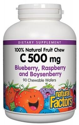 Vitamin C blueberry, raspberry and boysenberry 500 mg 90 chewable tablets Natural Factors / Витамин Ц горски плод 500 мг. 90 дъвчащи таблетки Натурал Факторс