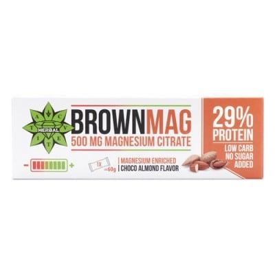 Brownmag Protein Bar with 500 mg Magnesium citrate and Choco Almond flavour 60 g Cvetita Herbal / Браунмаг Протеинов бар с Магнезий и шоколадов вкус на бадеми 60 гр. Цветита Хербал