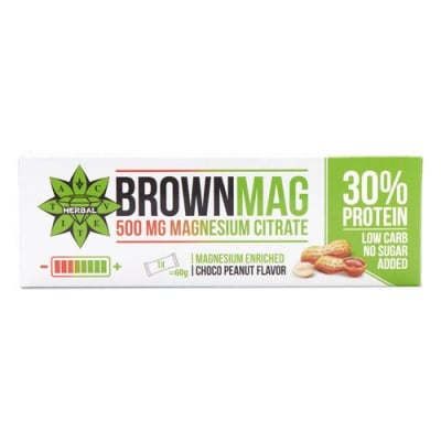 Brownmag Protein Bar with 500 mg Magnesium citrate and Choco Peanut flavour 60 g Cvetita Herbal / Браунмаг Протеинов бар с Магнезий и шоколадов вкус на фъстъци 60 гр. Цветита Хербал