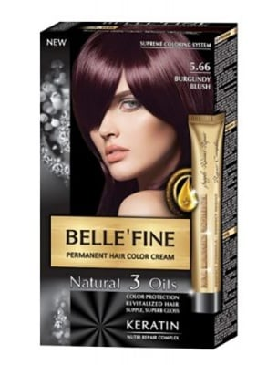 Belle'fine hair color cream 5.66 burgundy blush / Бел Файн боя за коса 5.66 бургундово червен