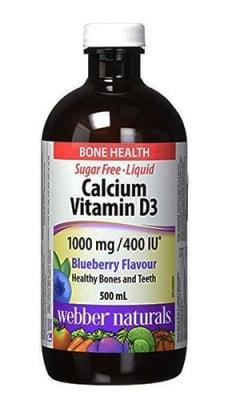 Calcium + vitamin D3 liquid 500 ml Webber Naturals / Калций + витамин Д3 течна форма 500 мл Уебър Натуралс
