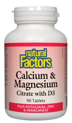Calcium and Magnesium, Vitamin D3 + Potassium, Zinc 90 tablets Natural Factors / Калций, Магнезий, Витамин Д3 + Калий и Цинк 90 таблетки Натурал Факторс