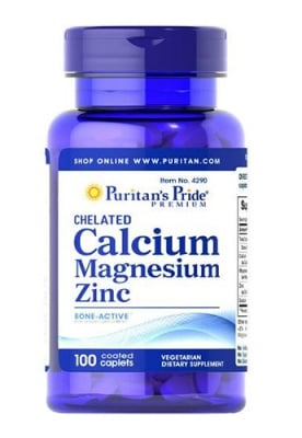 Puritan's pride chelated calcium, magnesium, zinc 100 caplets / Пуританс Прайд Хелатиран Калций, Магнезий и Цинк 100 каплети