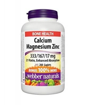 Calcium + magnesium + zinc 200 caplets Webber Naturals / Калций + магнезий + цинк 200 каплети Уебър Натуралс