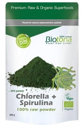 Biotоna Chlorella + Spirulina powder 200 g / Биотона Био Хлорела + Спирулина на прах 200 гр.