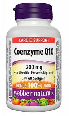 Coenzyme Q10 200 mg 60 softgels Webber Naturals / Коензим Q10 200 мг 60 капсули Уебър Натуралс