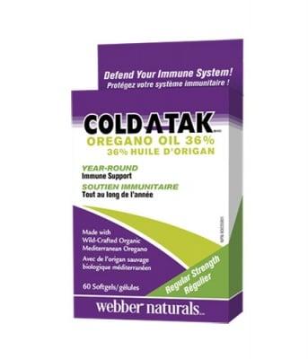 Cold-a-tak oregano oil 36% 60 softgels Webber Naturals / Масло от риган 36% 60 капсули Уебър Натуралс