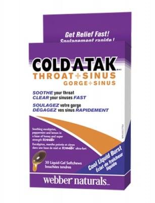 Coldatak throat + sinus 30 liquid gel softchews  Webber Naturals / Гърло и синуси 30 дъвчащи гел капсули Уебър Натуралс