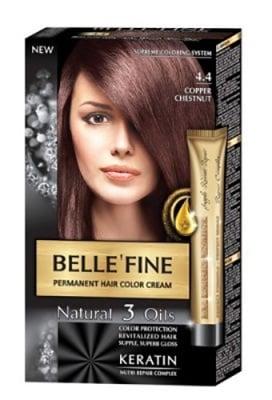 Belle'Fine hair color cream 4.4 copper chestnut / Бел Файн боя за коса 4.4 меден кестен