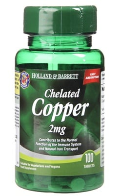 Chelated copper 2 mg 100 tablets Holland & Barrett / Мед хелатиран 2 мг. 100 таблетки Holland & Barrett