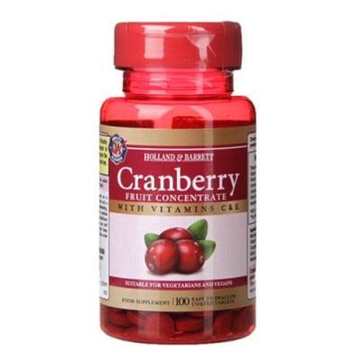 Cranberry with vitamins C & E 100 tablets Holland & Barrett / Червена боровинка с витамини С и Е 100 таблетки Holland & Barrett