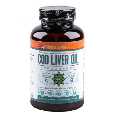 Cod Liver Oil with Fenugreek 60 softgels Cvetita Herbal / Рибено масло от черен дроб на Треска + Екстракт от Сминдух 60 капсули Цветита Хербал