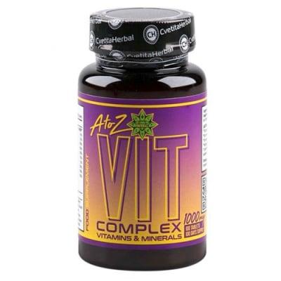 A to Z VIT Complex Vitamins & Minerals 1000 mg 100 tablets Cvetita Herbal / Вит Комплекс A-Z Витамини и Минерали 1000 мг. 100 таблетки Цветита Хербал