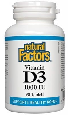 Vitamin D3 1000 IU 90 tablets Natural Factors / Витамин Д3 1000 IU 90 таблетки Натурал Факторс