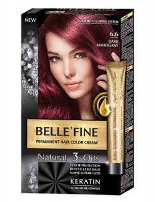 Belle'fine hair color cream 6.6 dark mahogany / Бел Файн боя за коса 6.6 тъмен махагон