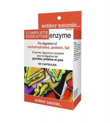 Complete digestive enzymes 60 capsules Webber Naturals / Храносмилателни ензими пълен спектър 60 капсули Уебър Натуралс