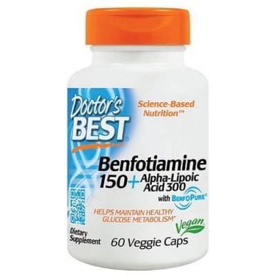 Doctor's Best Vitamin B1 (Benfotiamine) 150 + Alpha Lipoic Acid 300 60 capsules / Доктор'с Бест Витамин Б1 (Бенфотиамин) + Алфа Липоева Киселина 60 капсули
