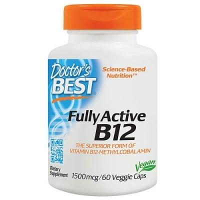 Doctor's Best Fully Active Vitamin B12 (Methylcobalamin) 1500 mcg 60 capsules / Доктор'с Бест Витамин Б12 (Метилкобаламин) 1500 мкг. 60 капсули
