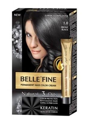 Belle'Fine hair color cream 1.0 ebony black / Бел Файн боя за коса 1.0 Абаносово черен