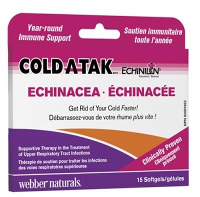 Coldatak echinacea 15 softgels Webber Naturals / Гърло и синуси 15 капсули Уебър Натуралс
