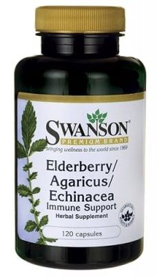 Swanson Elderberry, agaricus, echinacea 120 capsules / Суонсън Бъз, агарикус, ехинацея 120 капсули