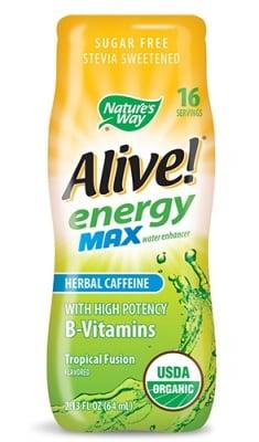 Alive Energy Max herbal caffeine tropical fusion 64 ml. Nature's Way / Алайв Енерджи Макс с билков кофеин тропик 64 мл. Nature's Way