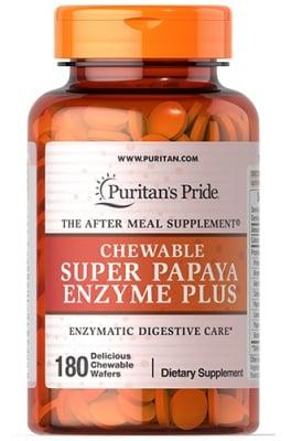 Puritan`s Pride Super papaya enzyme plus 180 chewable tablets / Пуританс Прайд Супер ензими 180 дъвчащи таблетки