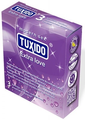 Tuxido Extra love Delay condoms of natural latex 3 / Презервативи Туксидо Екстра Любов 3 бр.