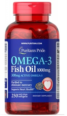 Puritan's Pride Omega 3 fish oil 1000 mg 250 capsules / Пуританс Прайд Омега 3 рибено масло 1000 мг. 250 капсули