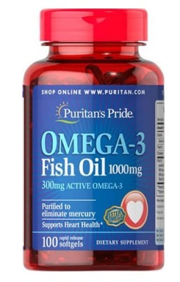 Puritan's Pride Omega 3 fish oil 1000 mg 100 capsules / Пуританс Прайд Омега 3 рибено масло 1000 мг. 100 капсули