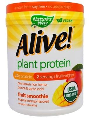 Alive Organic plant protein fruit smoothie 420 g Nature's Way / Алайв Органик растителен протеин тропическо манго 420 гр. Nature's Way
