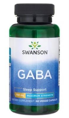 Swanson GABA 750 mg 60 capsules / Суонсън Габа максимална сила 750 мг. 60 капсули