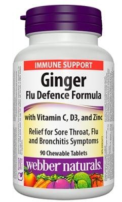 Ginger flu defence formula 90 chewable tablets Webber Naturals / Джинджифил анти-грип формула 90 дъвчащи таблетки Уебър Натуралс