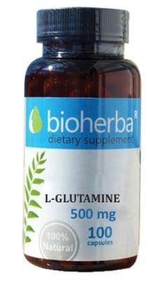 Bioherba L-glutamine 500 mg 100 capsules / Биохерба L-глутамин 500 мг. 100 капсули