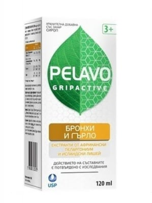Pelavo gripactive Bronchi and throat syrup 120 ml. / Пелаво Грипактив Бронхи и гърло сироп 120 мл.