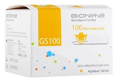 Blood glucose test strips Bionime GS100 100 pcs. / Тест ленти за измерване на кръвна захар Бионейм GS100 100 броя