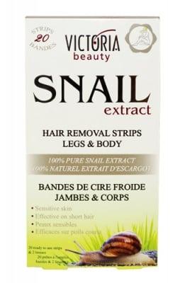 Victoria Beauty Hair removal strips legs and body with snail extract 20 pcs. / Виктория Бюти Депилиращи ленти за крака и тяло с екстракт от охлюв 20 броя