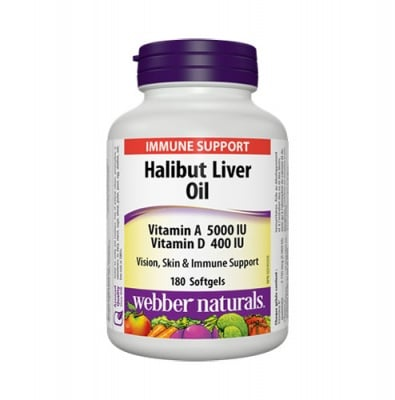 Halibut liver oil 180 capsules Webber Naturals / Черен дроб на халибут масло 180 капсули Уебър Натуралс