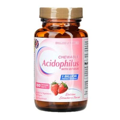 Acidophilus with Bifidus 100 chewable tablets with strawberry flavour Holland & Barrett / Ацидофилус с Бифидус 100 дъвчащи таблетки с вкус на ягода Holland & Barrett