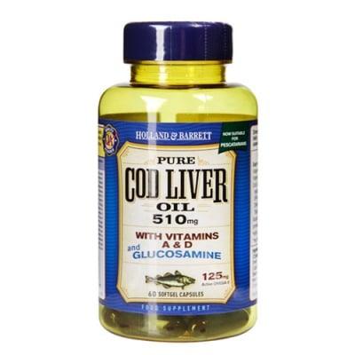 Pure Cod Liver Oil with Vitamins A and D and Glucosamine 510 mg. 60 capsules Holland & Barrett / Рибено масло от черен дроб на треска с Витамини А и Д и Глюкозамин 510 мг. 60 капсули Holland & Barrett