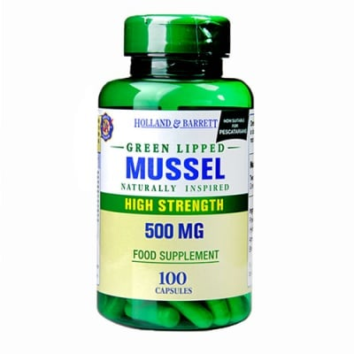 Green Lipped Mussel 500 mg. 100 capsules Holland & Barrett / Зеленоуста мида 500 мг. 100 капсули Holland & Barrett